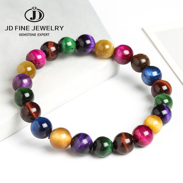 JD الحجر الطبيعي عين النمر 7 شقرا أساور اليوغا التوازن الخرز بوذا الصلاة مطاطا الملونة سوار الطرف