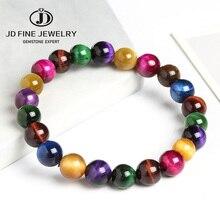 JD naturalny kamień tygrysie oko 7 czakry bransoletki i bransolety joga koraliki równowagi budda modlitwa elastyczna kolorowa bransoletka Party