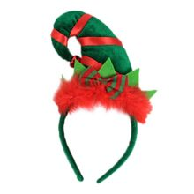 Children's Adult Santa Elf Hat Headband Buckle Contrast Fluffy Bow and Bell Costume contrast ruffle neck and bell cuff jumper