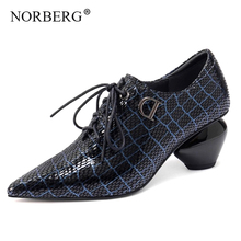 NORBERG fashion sheepskin women high heels pointed Lace-Up office woman summer / autumn shoes comfortable leather