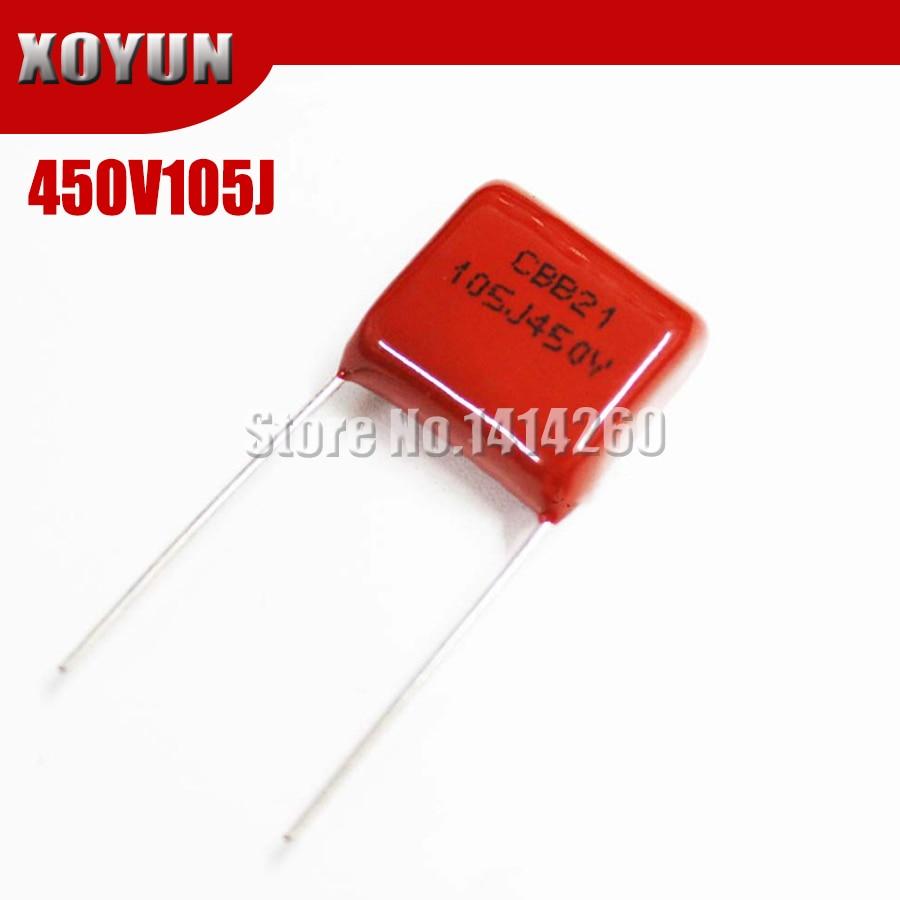 10PCS 450V105J 1UF Pitch 15mm 105J 450V CBB Polypropylene Film Capacitor