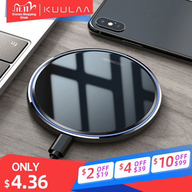 KUULAA wireless charger for iPhone 11 X/XS XR 8 Plus wireless charging pad for xiaomi mi 10 pro 9 samsung fast wireless charger