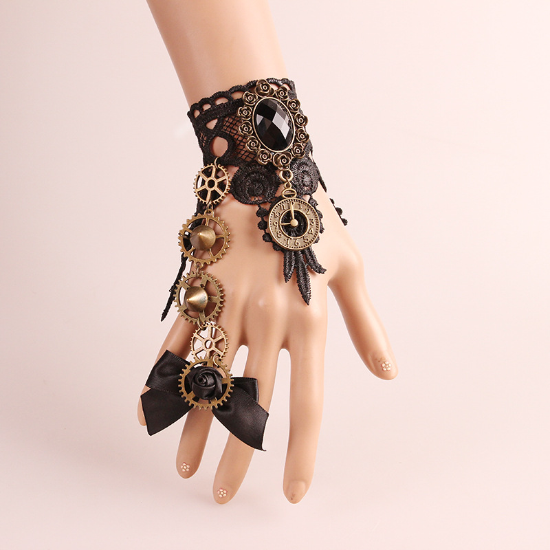 Bronzing Fingerless Gloves Gothic Floral Lace Steampunk Wristband Ring Vintage Beaded Gloves Bridal Bracelet Ring Set 1 Pair