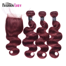 Hair-Bundles Closure Bodywave Fashion Lady Brazilian Pre-Colored with Lace 3pieces Non-Remy