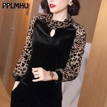 Women Fashion Leopard Velvet Shirts Basic Long Sleeve