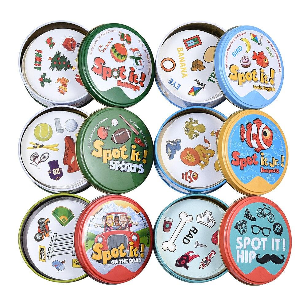 Dobble 16 видов стилей определить его карты, игрушка-вертушка, железная коробка Спорт Go Кемпинг бедра детское настольные игры подарок Животные ...