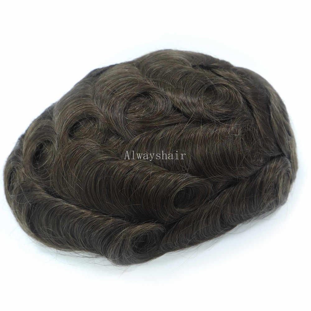Peluca de cabello RH bio-nature para hombre, peluquín de piel súper fino de 0,06-0,08mm, pelucas para hombre con cabello gris sintético