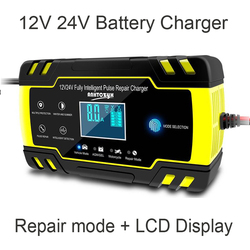 12V 24V Motorcycle Golf Car Battery Charger Maintainer & Desulfator Smart Battery Charger, Pulse Repair Battery Charger