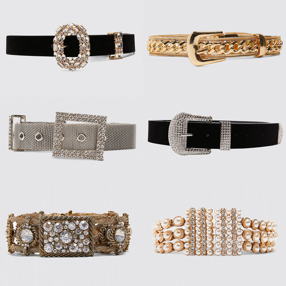 Girlgo 2019 Za Shiny Crystal Buckle Belts For Women Luxury Brand Charm Pearl Statement Belts Female Romantic Waist Jewelry Gifts