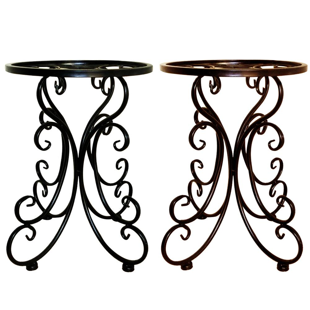 Indoor Balcony Single Wrought Iron Flower Pot Tray Stand Round Stool Flower Rack Ideal For Patios & Porches & Office & Balconies