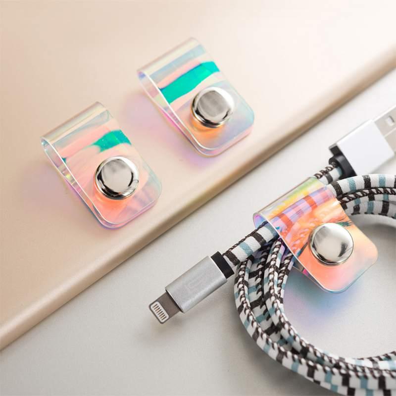 Coloré Laser écouteurs données câble ligne stockage enrouleur câble organisateur fil enveloppé cordon ligne support pour téléphone MP4
