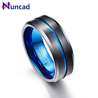 Nuncad Mens 8mm Green /& Black Tungsten Carbide Ring Never Fade Matte Finish Beveled Grooved Wedding Band Size 7 to 16