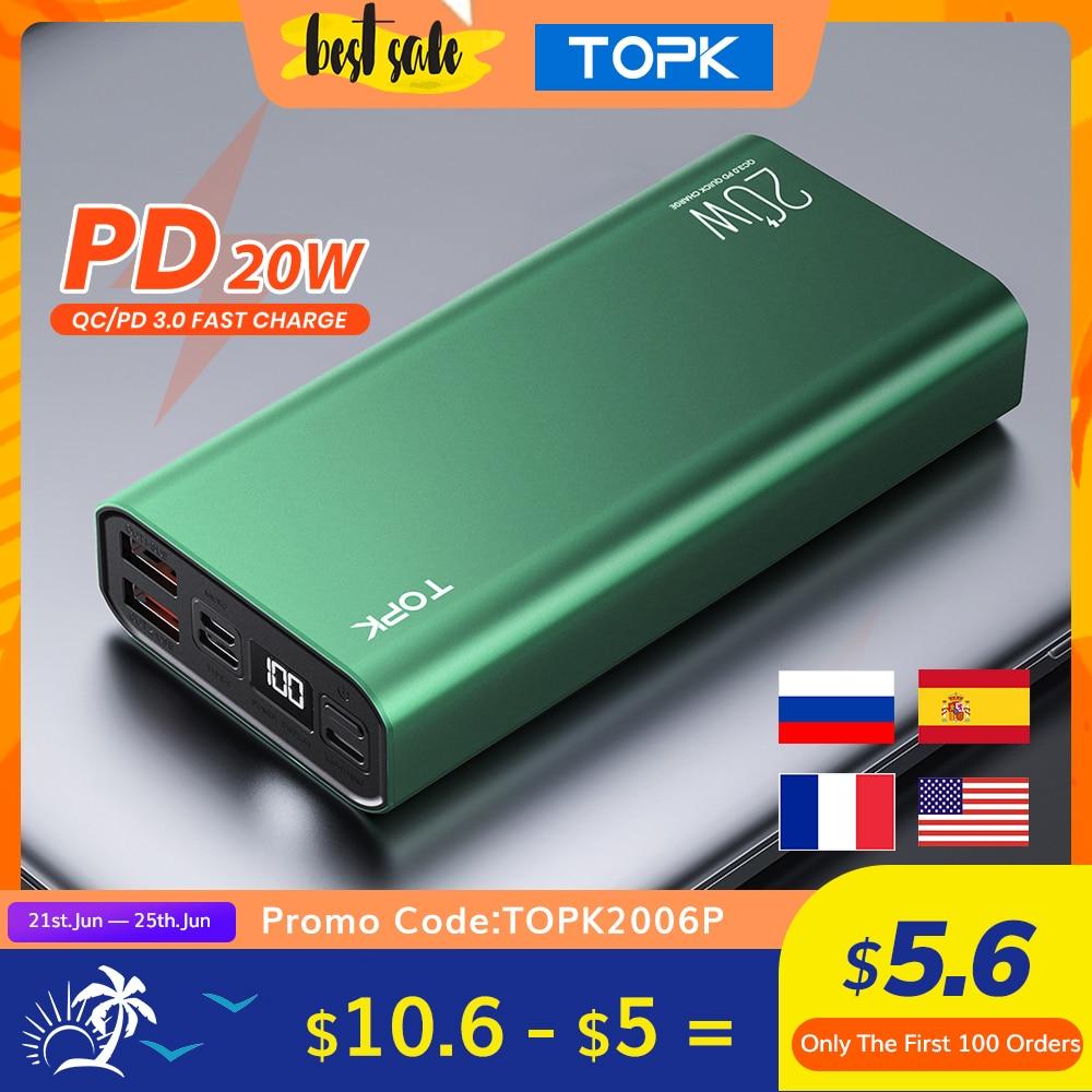 TOPK I2006P Power Bank 10000mah & 20000mAh Portable Charging LED External Battery PD 20W PowerBank 10000 20000 mAh for Xiaomi