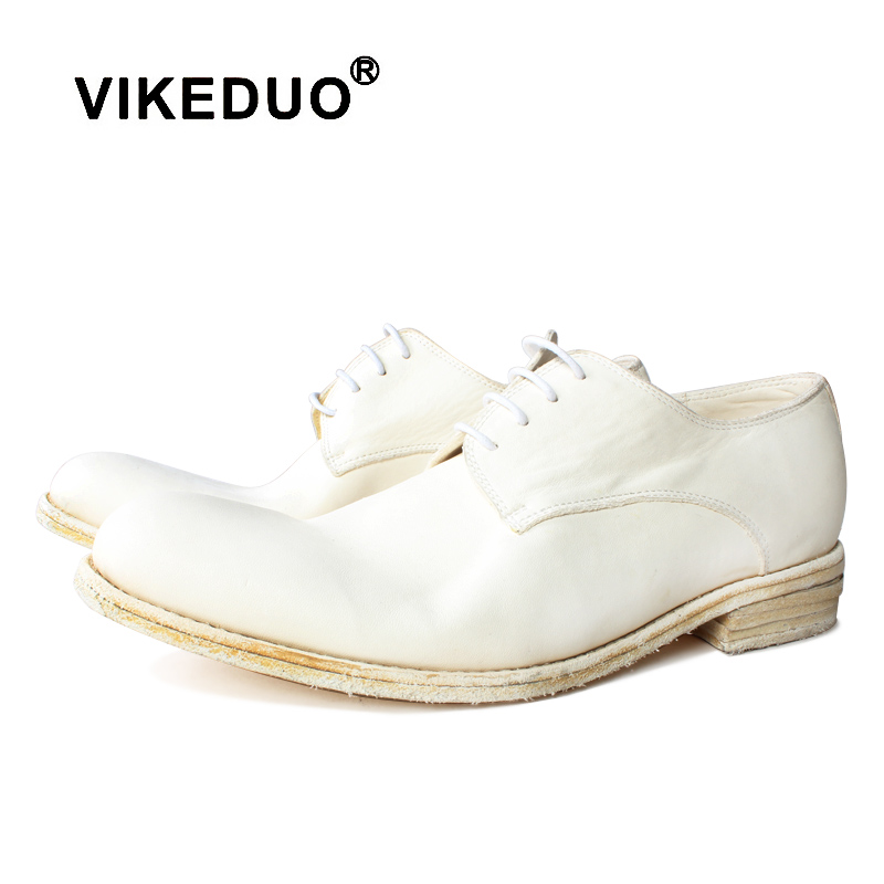 Vikeduo 2019 Men 39 s White Leather Shoes New Outsole Round Head Men 39 s Wedding Business Office Shoes in Formal Shoes from Shoes