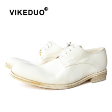 Vikeduo 2019 Mens White Leather Shoes New Outsole Round Head Wedding Business Office