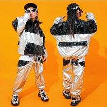 Детская крутая одежда с пайетками в стиле хип-хоп, свитер с высоким воротом, топ, повседневные штаны для бега для девочек, костюм для джазовых танцев, одежда