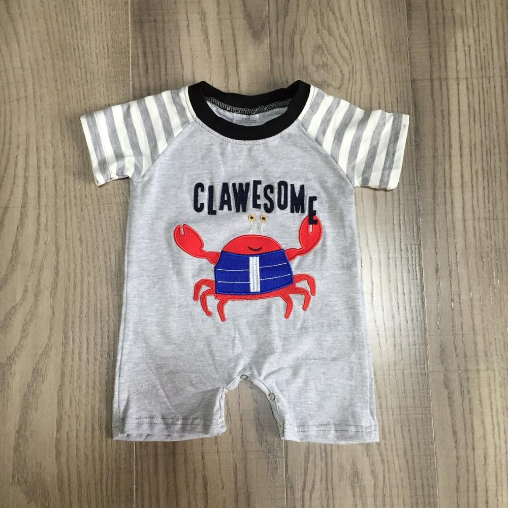 Infant Baby Clothes Baby Kids Crab Romper Baby Grey Cotton Romper Wholesale