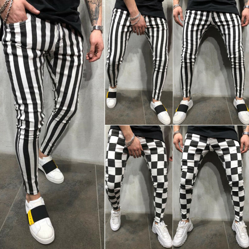 2019 The Newest Fashion Clothing Suit Many Occasion Men's Summer Fashion Slim Comfortable Striped Plaid Black White Casual Pant