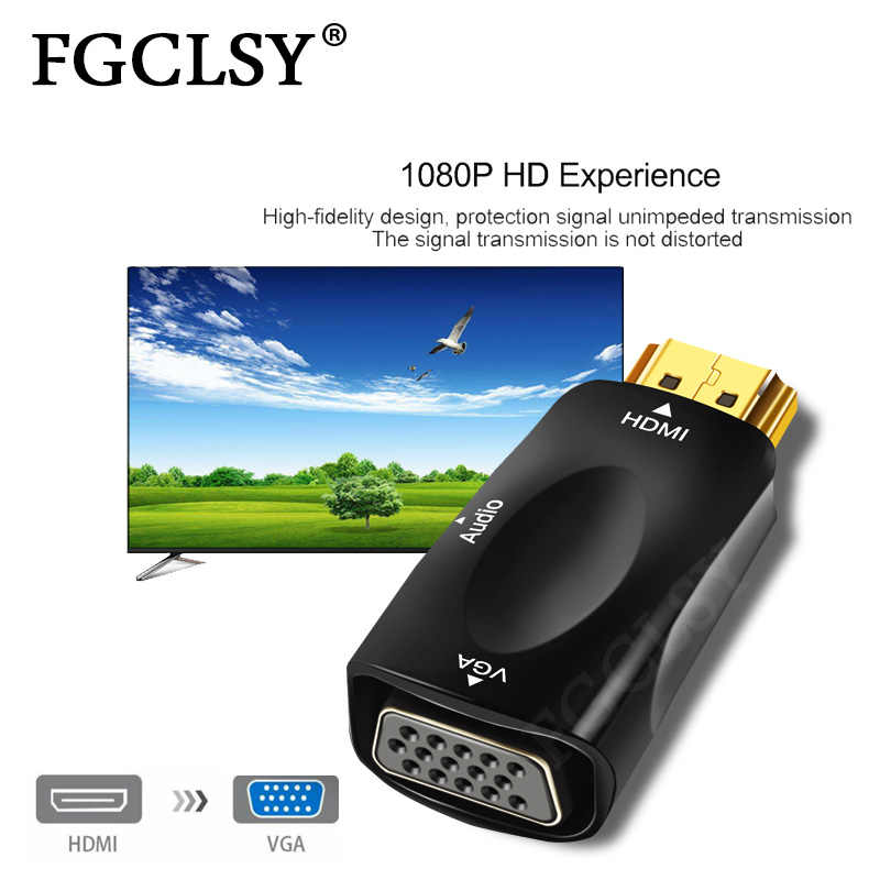 FGCLSY ذكر إلى أنثى HDMI لمحول VGA HD 1080P الصوت محول الكابل لأجهزة الكمبيوتر المحمول صندوق التلفزيون شاشة عرض كمبيوتر العارض