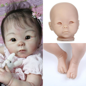 Unfinished 20 Inches Reborn Baby Doll Kits With Eyes And Cloth Baby Reborn Blank Doll Kit 3/4 Limbs Child DIY Toys