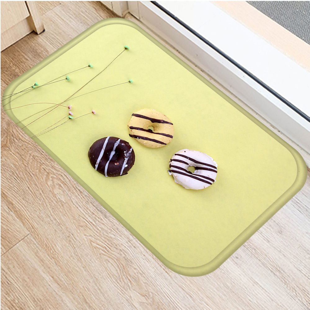 Image 2 - New Delicious Cookies Flannel Thicken Soft Mat Doormat Bathroom 