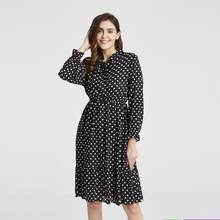 2019 Spring Autumn Women's Chiffon Dresses Stand Neck With Bow Floral Print Ruffles Vestido Long Sleeve Elegant Cute Dress S-XL(China)