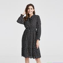 2020 Spring Autumn Womens Chiffon Dresses Stand Neck With Bow Floral Print Ruffles Vestido Long Sleeve Elegant Cute Dress S XLDresses