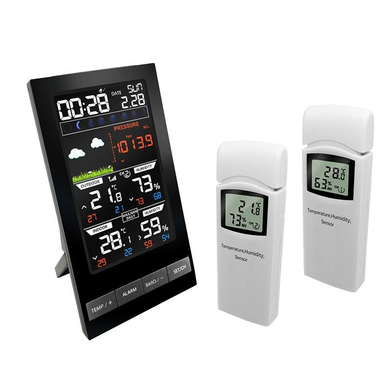 Беспроводная метеостанция, 3 канала, открытый цифровой термометр, mmHg, барометр, гигрометр, метеостанция, будильник, точка росы