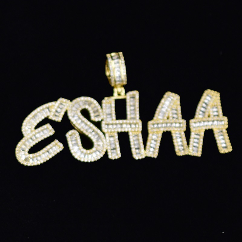 Custom Name Baguette Letters Hip Hop Iced Out Pendant Chain Gold Silver Bling Zirconia Men's Hip Hop Charm Gift Pendant Jewelry
