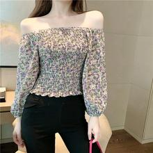 Girls Sweet Slash Neck Full Lantern Sleeve Cropped Blouses Women's Floral Stretchy Chiffon Blouse Crop Tops For Female