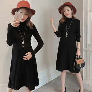 Image 4 - Autumn winter maternity sweater dress elastic slimming knitted pregnancy clothes pregnant dresses for women winter warm long