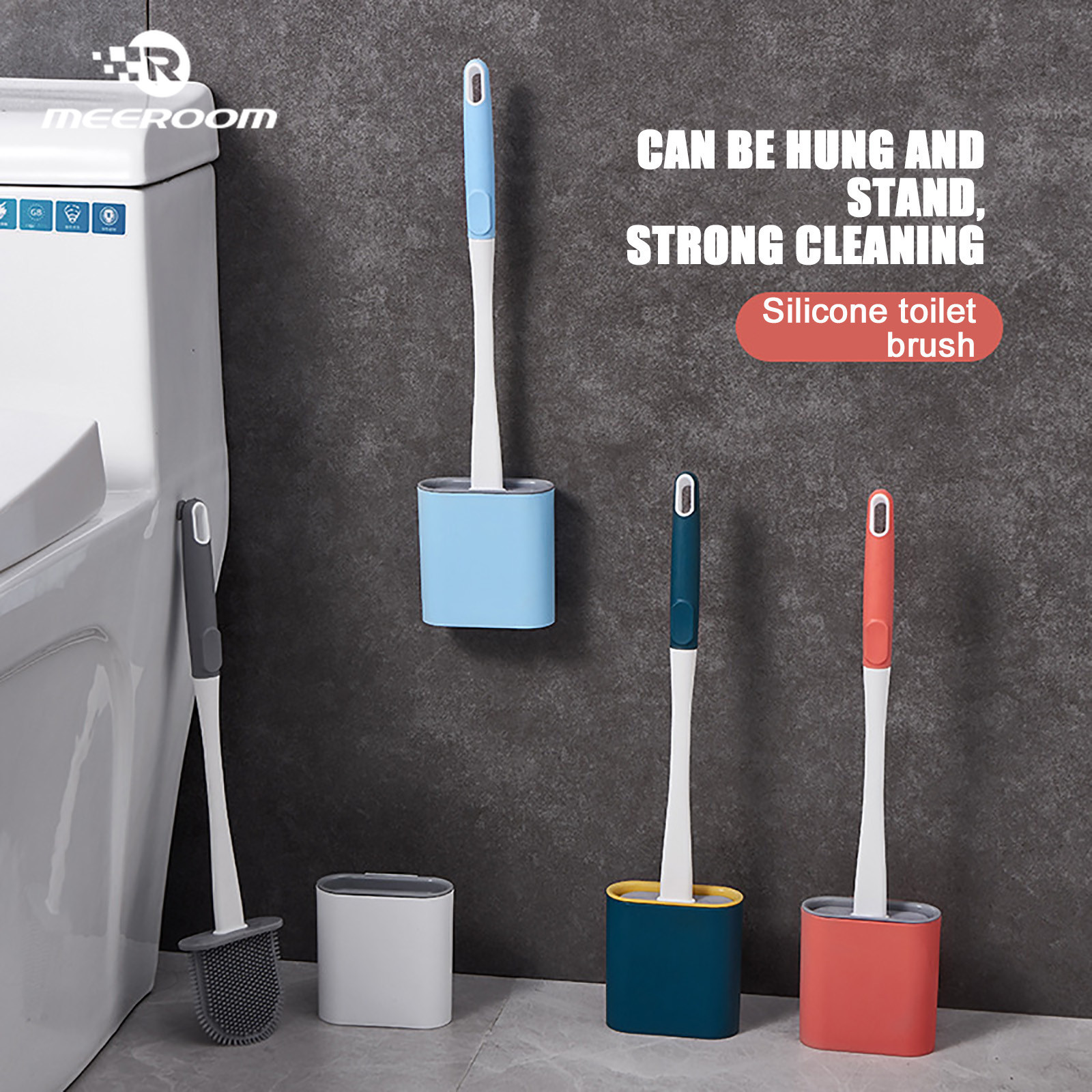 Toilet Brush No Dead Ends Flushing Toilet Silicone Brush Hanging Durable Bathroom Accessories Bathroom Cleaning Tools Brush Kit