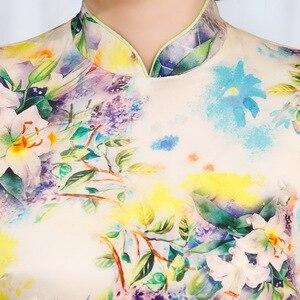 Image 3 - と夏 2020 新ヘビーシルクシルクのチャイナ半袖プリントショートチャイナドレスファッショナブルなと若い