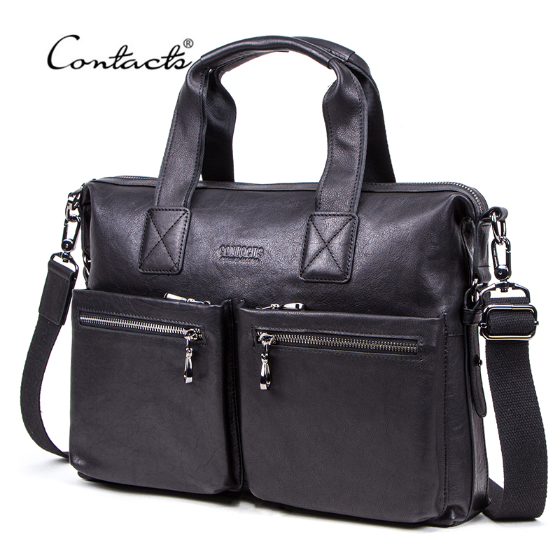 CONTACT'S NEW Casual Men's Bag Vegetable Tanned Cow Leather Briefcase Man Laptop Bags Brand Design Business Shoulder Bag for Men