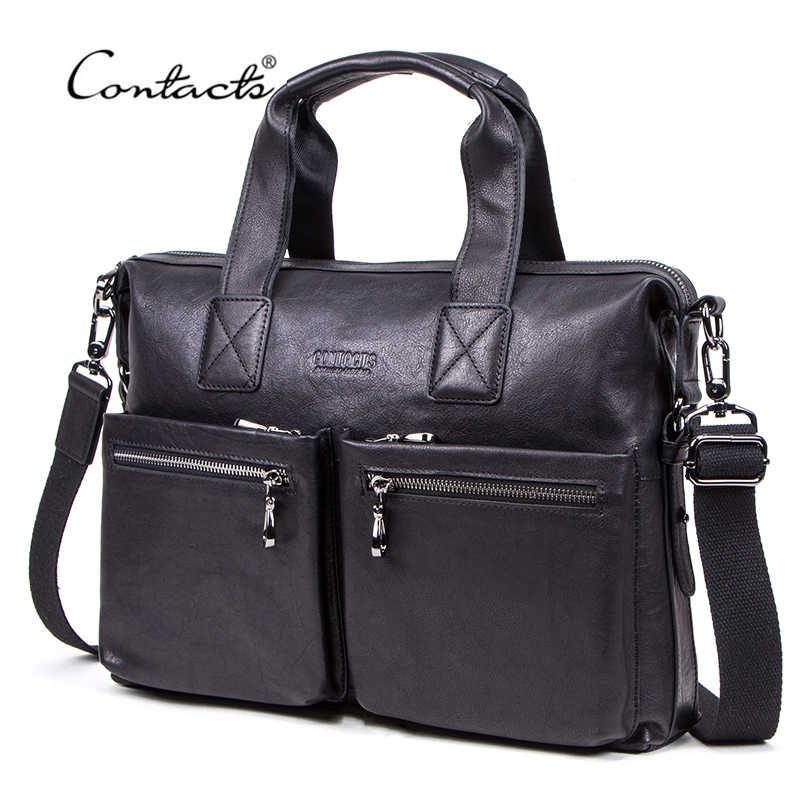 CONTACT'S جديد حقيبة رجالية عادية الخضار المدبوغة البقرة حقيبة جلدية رجل محمول حقائب العلامة التجارية تصميم حقيبة كتف الأعمال للرجال