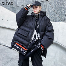 XITAO Plus Size Letter Print Pocket Parkas Black Green Short Bread Service Thicken Loose Winter Women Clothes 2019 New GCC2585
