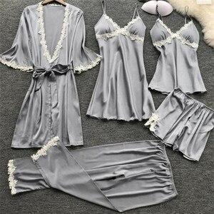 Image 3 - 2020 Women Satin Sleepwear 5 Pieces Pyjamas Sexy Lace Pajamas Sleep Lounge Pijama Silk Night Home Clothing Pajama Suit