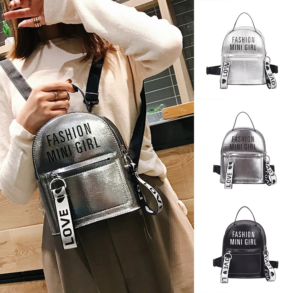 School Backpack Women PU Leather Shoulder Bag For Teenage Girls Kids Multi-Function Small Bagpack Female Ladies Mini Backpack