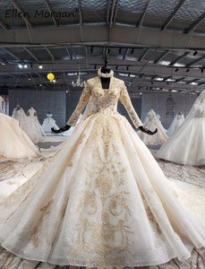 Image 2 - Ivory Long Sleeves Wedding Dresses with Gold Lace for Women 2020 Princess Puffy V Neck Corset Real Photos Vintage Bridal Gowns