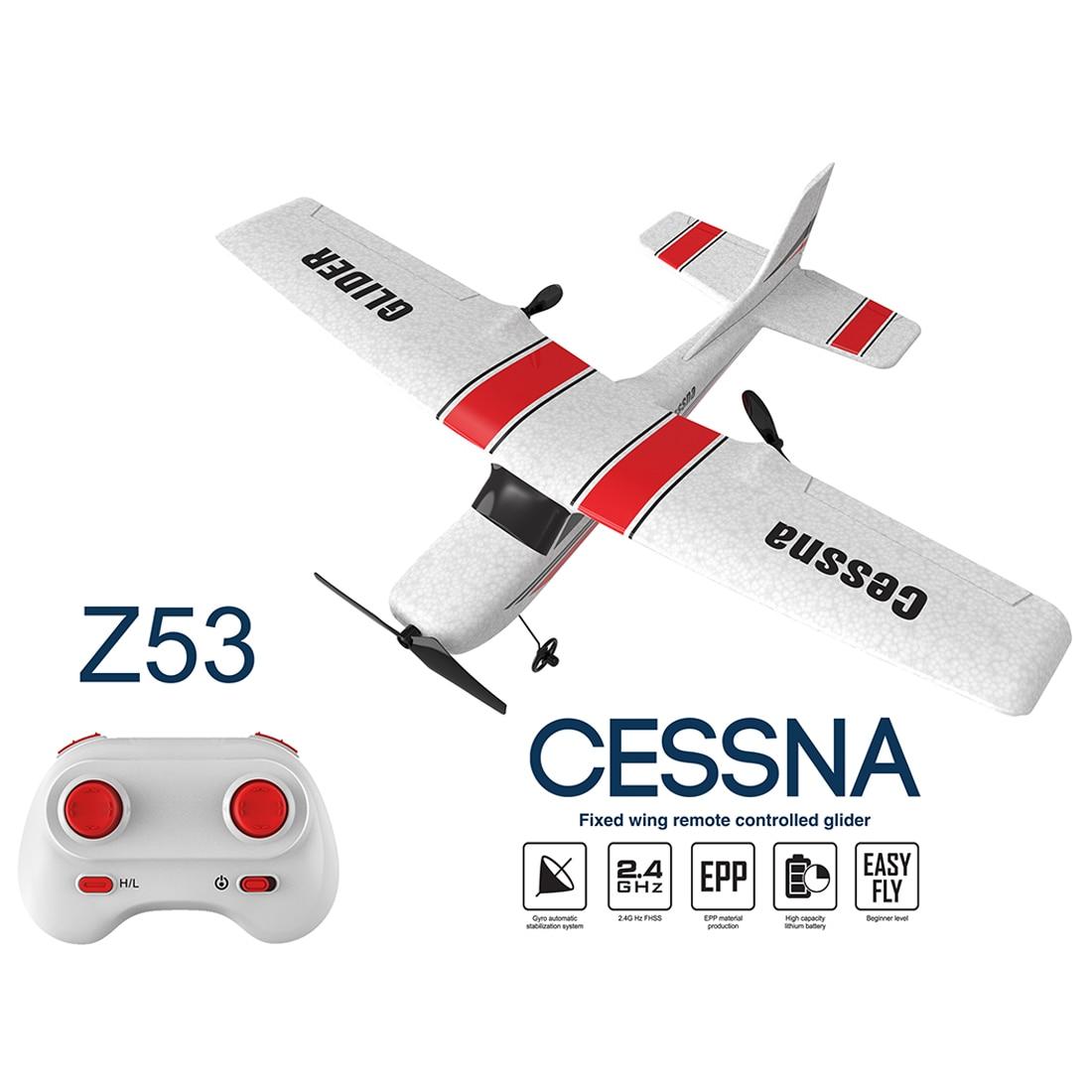 Oyuncaklar ve Hobi Ürünleri'ten RC Uçaklar'de Z53 2.4G 2CH RC uçak EPP köpük planör RC uçak oyuncak 3 adet pil ile beyin eğitim oyuncak çocuklar için eğitici oyuncaklar hediye title=