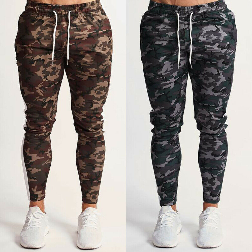 Men's Sport Camouflage Camo Cargo Army Trousers Fitness Joggers Gym Sweatpants