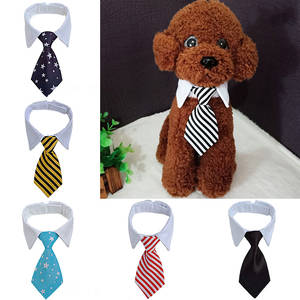 Necktie Bowtie-Collar Dog Wedding Party White Striped Pet Adjustable Cat for Bow-Tie