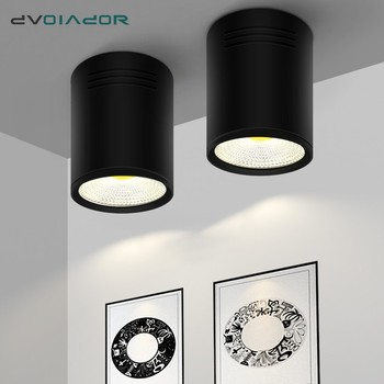 DVOLADOR Black Dimmable LED COB Downlight Surface Mounted LED Ceiling 3W/5W/7W/10W Housing AC85-265V Downlight with LED Driver dimmable led downlight spot lights ceiling backdrop ceiling down lamp include driver 10w 2 10w white shell black shell