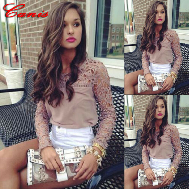 Blouses Women Casual Summer Tops Lace Hollow Out Chiffon Shirt Solid Khaki Floral Blouse For Womens Clothes
