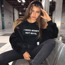 Eu preciso de dinheiro, não meninos, camiseta de energia da menina 90s meninas, quotes top, camiseta hipster harajuku roupa tops modernos
