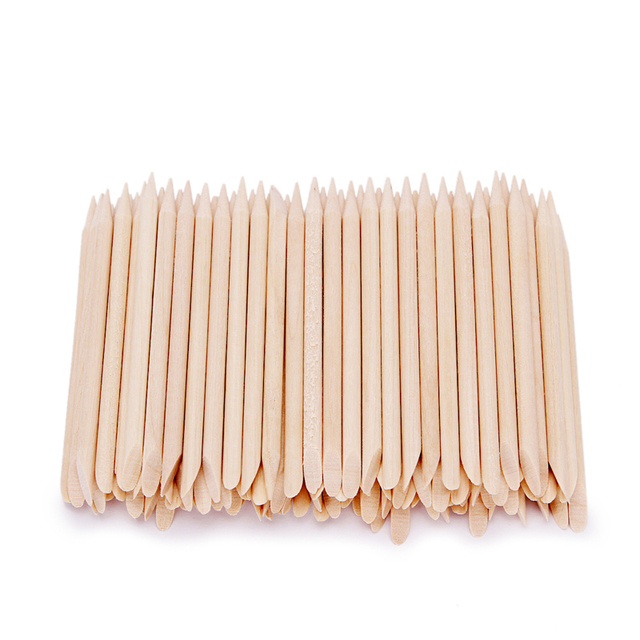 100 Pcs Nail Art Design Orange Wood Stick Sticks Cuticle Pusher Remover Manicure Pedicure Care 2