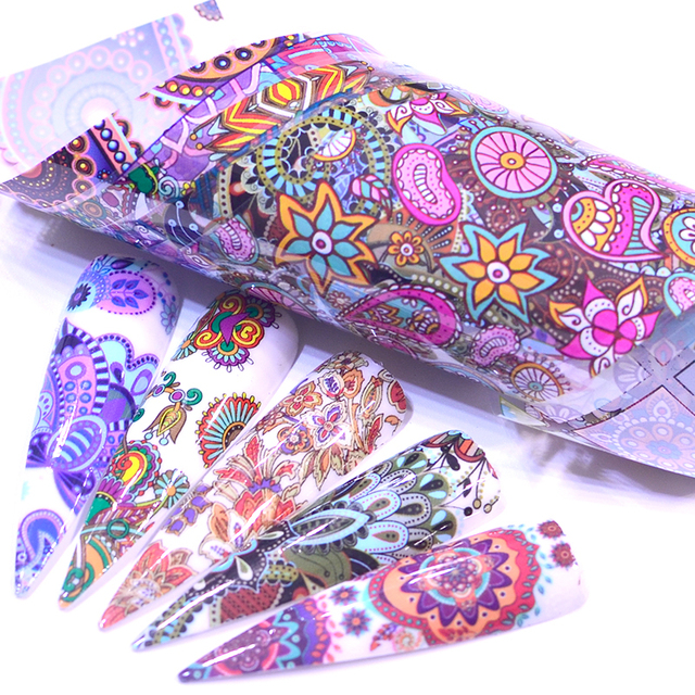 10PCS/Pack Retro Nail Foil Transfer Sets Flower Geometry Mixed Printing Wraps Adhesive Nail Art Decoration Sticker Decals Tool