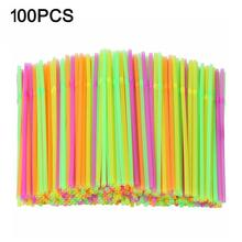 100pcs Plastic Drinking Straws Bendable Disposable Straws Flexible Fluorescent Straws Party DIY Drink Straw Bar Club Accessories