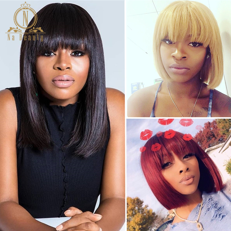 Lace Front Short Bob Wig 613 Blonde Red Colored Human Hair Wigs Straight Wig With Bangs For Black Women Fringe Nabeauty 150 Remy
