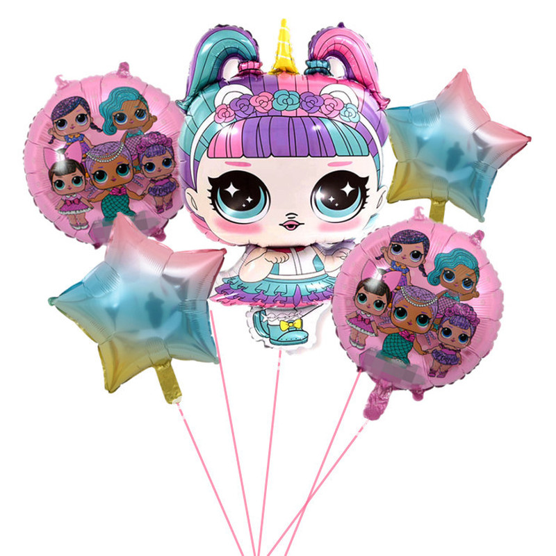 Original Lol Surprise Dolls Children Girls Birthday Party Decoration Background Balloon Action Toys Aluminum Film Gifts For Kids